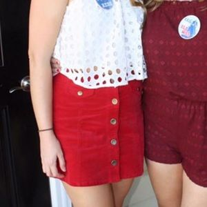 Forever 21 Red Corduroy Button Front Mini Skirt